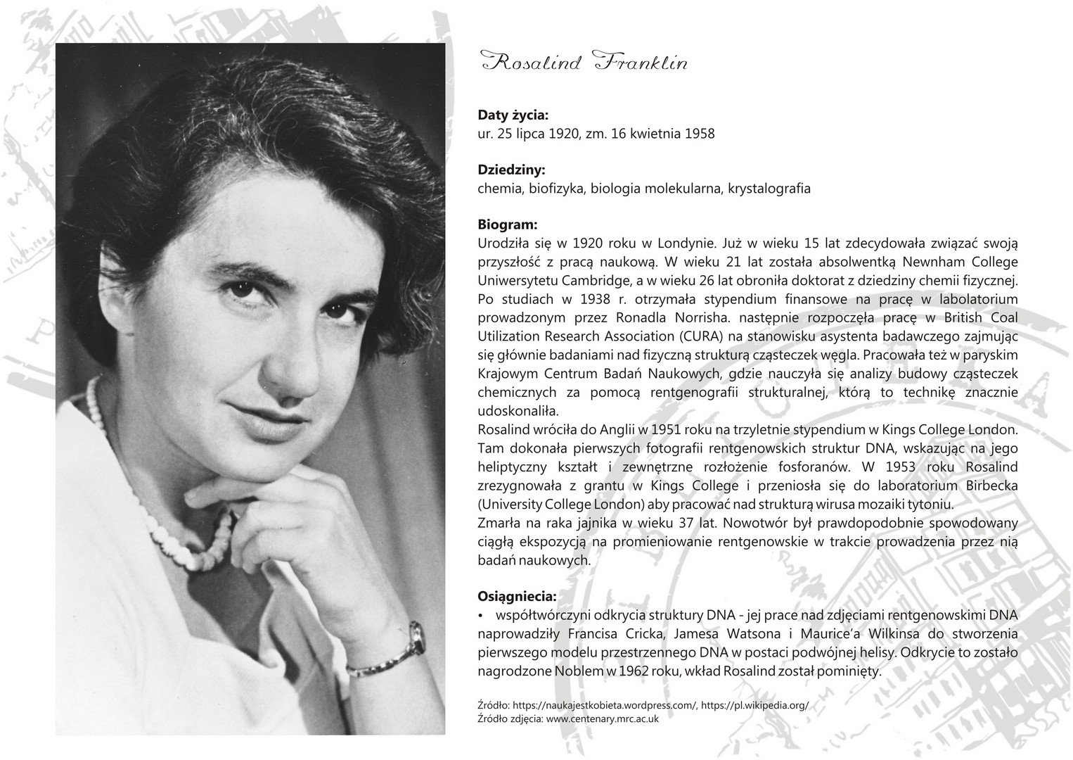 franklin rosalind 1920 1958 essay Rosalind franklin (1920-1958) (franklin, rosalind) franklin, muriel franklin's work was published third in the series of nature papers that announced the.